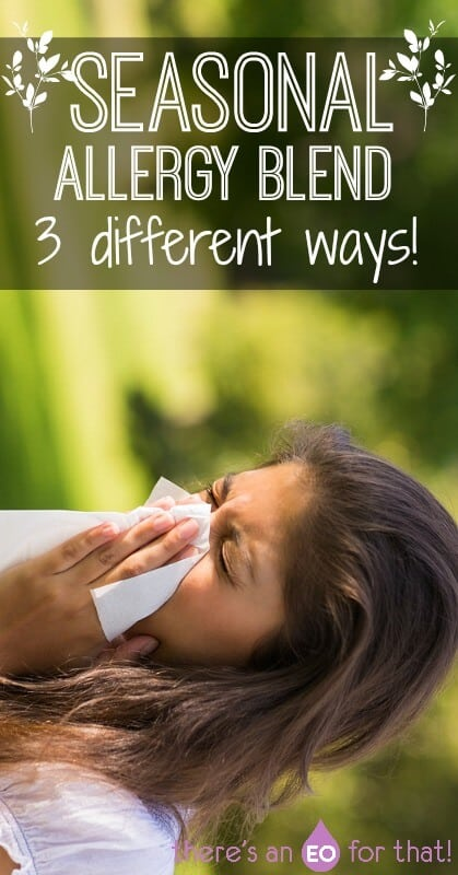 Make this seasonal allergy blend to relieve stuffy runny congested noses, red itchy eyes, and sinus pressure! #seasonalallergies #allergies #essentialoils