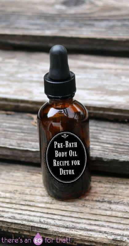 Pre-Bath Body Oil Recipe for Detox - use this pre-bath oil to stimulate circulation and lymphatic drainage, good digestion, and support toned skin.